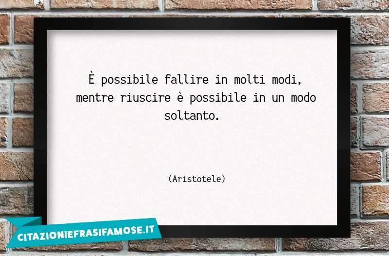 È possibile fallire in molti modi, mentre riuscire è possibile in un modo soltanto.