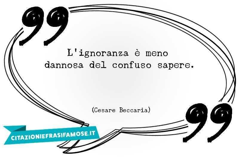 L'ignoranza è meno dannosa del confuso sapere.